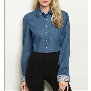Denim cropped button-down top with lace detail NEW
